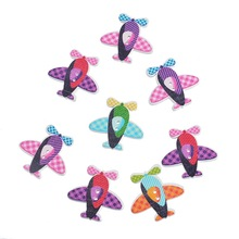 30PCs Multicolor Tartan Design Airplane Helicopter 2 Holes Wood Buttons Fit Scrapbooking Sewing DIY 3×3.1cm Crafts Accessories