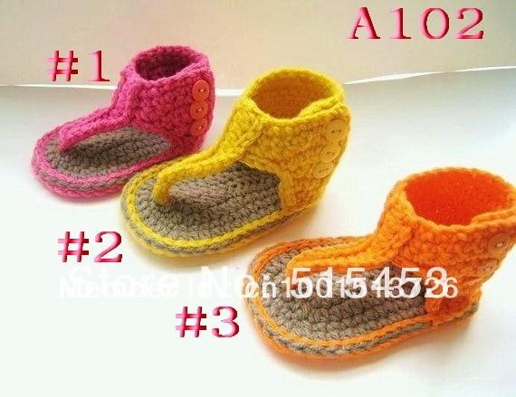 Patrón de ganchillo para bebé sandalias o botines patrón Pdf ...