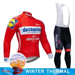 Image 1 - 4 kolory 2019 Team kolarstwo zestaw koszulek belgia odzież rowerowa męskie zimowe termiczne polarowe ubrania do jazdy rowerem odzież rowerowa