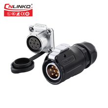 Cnlinko Lp20 7Pin Waterproof Connector M20 Ip67 Male Female LED Light Medical Push 7 Pin Solder Connectors For Laundry Machine