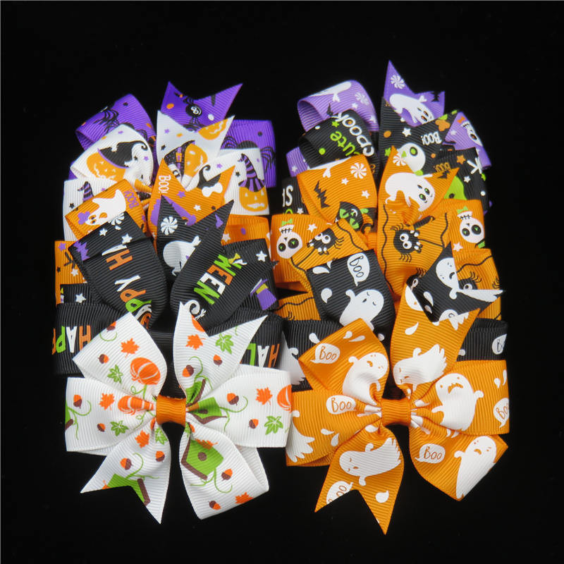 1PCS Boutique Halloween Punk Hair Bow With Clips Hair Pumpkin Hair Bow Halloween Hair Accessories Best Friend Holiday Gift 2017