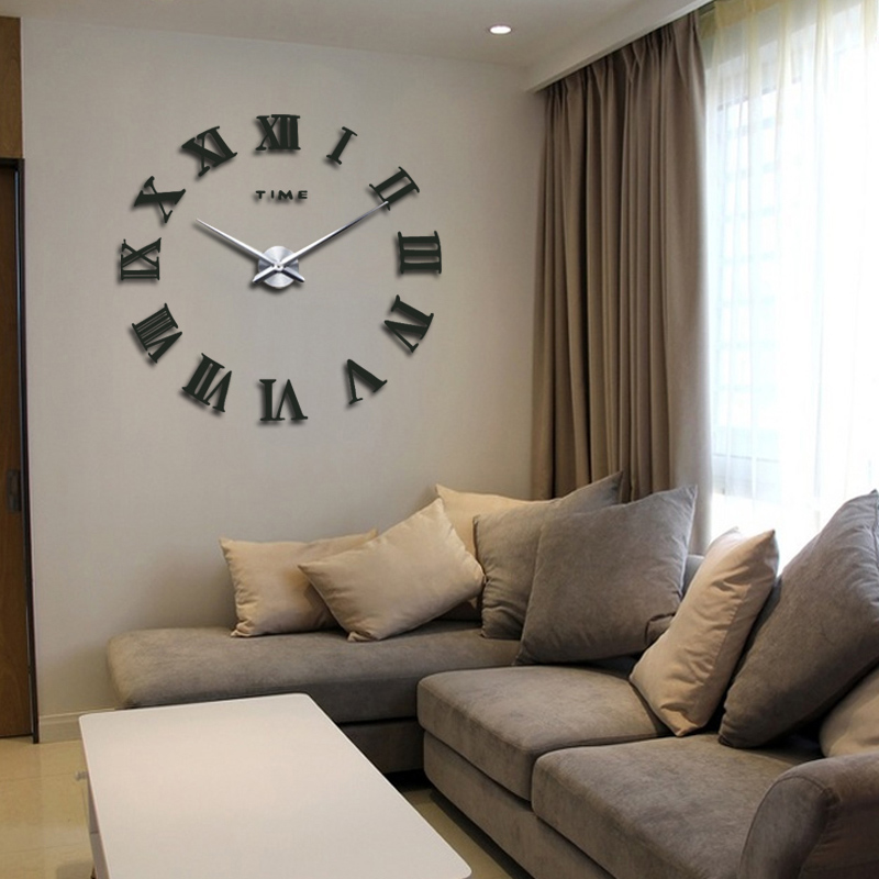 Promotion New Home Decor Large Roman Mirror Fashion Modern Quartz Clocks  Living Room Diy Wall Clock Sticker Watch Free Shipping In Wall Clocks From  Home ...