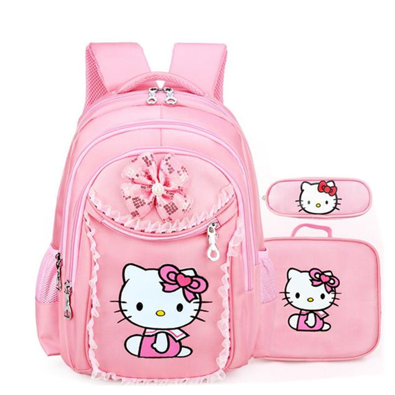 3pcs Hello Kitty Backpack for Girls Cartoon Waterproof Bowknot Sequin  Schoolbag for Children Casual Shoulder Bag ca75cf5e00