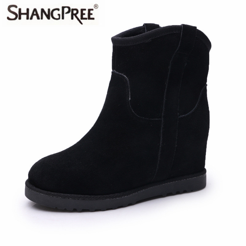 2017 New Short Barrel Cow suede Genuine Leather  boots winter warm slope with increasing snow boots women Ankle women's shoes de la chance autumn winter genuine leather suede ankle boots wipe color fashion women s boots new short boots ladies shoes