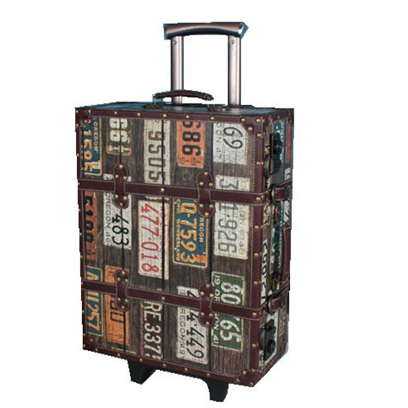 KUNDUI Luxury Business PU Leather Trolley Travel Luggage Bag Men Business Boarding Suitcase Women Retro Digital Wheels Bags
