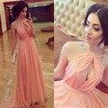 Chegada nova custom made alta neck a line chiffon rosa vestidos longos cristais beading plus size vestido longo abendkleider