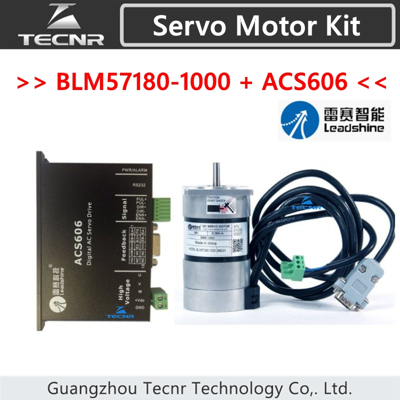 TECNR Leadshine servo driver ACS606 and Brushless servo motor BLM57180-1000 encoder 1000 lines set sales genuine leadshine blm57180 square flange servo motor and acs606 servo drive and encoder cable and rs232 tuning cable