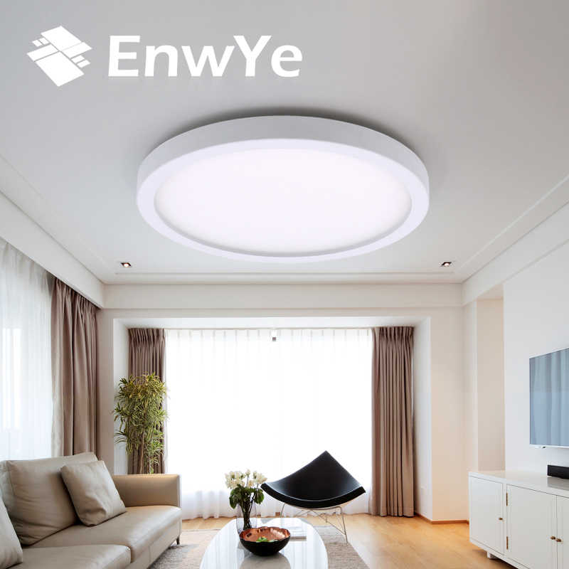 EnwYe 6W 9W 13W 18W 24W 36W 48W LED Melingkar Panel Cahaya Permukaan dipasang lampu langit-langit led AC 85-265V lampada lampu led