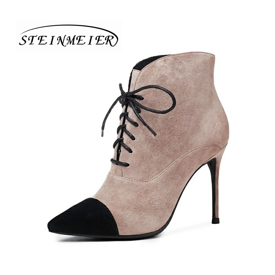 Women genuine sheepskin suede leather short lace up ankle boots fur winter natrual leather black boots women shoes boots 2017 sougen boots men brand autumn genuine leather ankle fur winter black cowboys military shoes sheepskin snows suede fashion