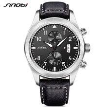 a4b900da764 SINOBI Mens Chronograph Relógios De Pulso Relógio de Couro de Luxo Completo  Masculino Esportes Genebra relógios