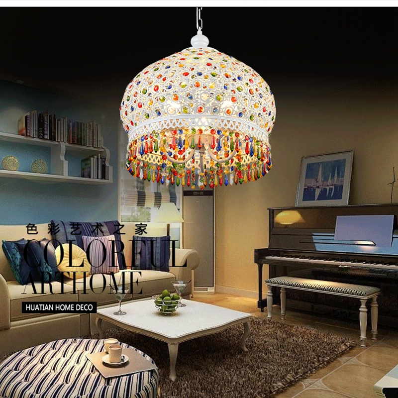 Bohemian Mediterranean Colorful Crystal Ceiling Drop Light Pendant Lamp Lampshade Lighting Fixture Room Restaurant Cafe Decor d180mm brass bell copper cone lampshade fabric wire pendant lamp fixture brass lighting for cafe restaurant ceiling room led