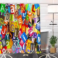 Best Nice Custom English Alphabet Shower Curtain Bath Curtain Waterproof Fabric For Bathroom MORE SIZE WJY