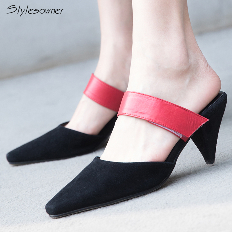 Stylesowner Sexy Women High Heels Mules Slippers Spiked Heels Shallow Summer Slides Ladies Genuine Leather Casual High Heels New 2018 summer new genuine leather women slippers sexy cut outs high heels shoes fashion slides natural leather sandals for women