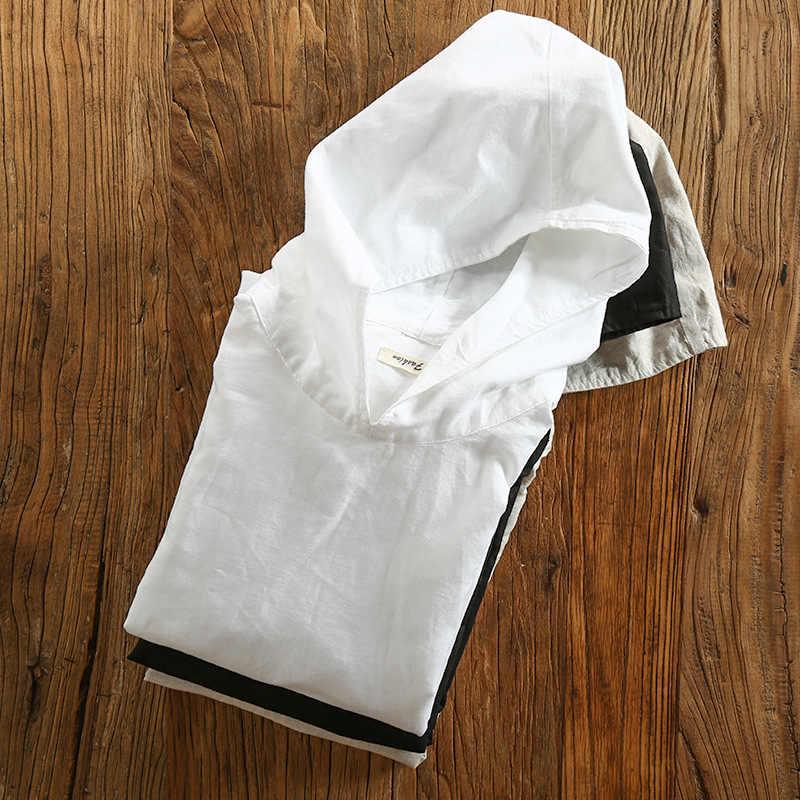 男性の綿リネンフード付きシャツカジュアル長袖プルオーバーシャツのための男性ファッションストリートカミーサ TS-502
