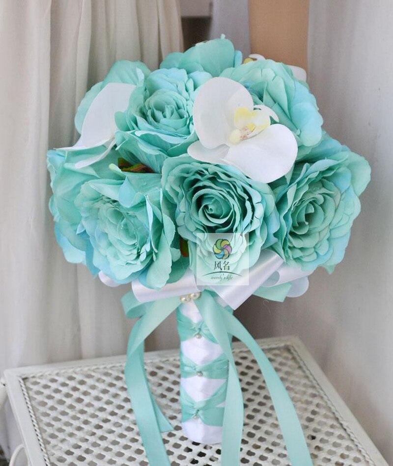 Fait à la main mariée demoiselle d'honneur mariage Bouquet fleurs artificielles Roses de soie avec Phalaenopsis blanc marque mariée fleur décor à la maison