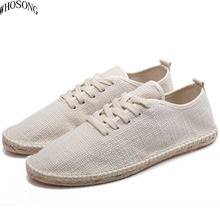 WHOSONG 2019 Summer Straw ventilation Footwear Mens Flat Canvas Shoes Hemp Lazy Flats For Men Male Loafers Driving m301