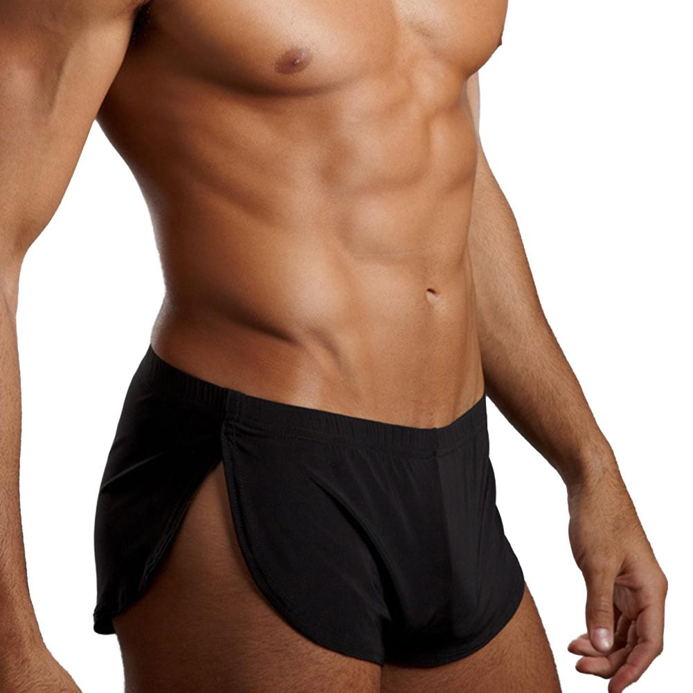 Low Rise Shorts Man Solid Color Elastic Waistband Split Underpants Shorts Home Sportswear Breathable New