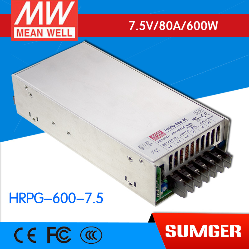 1MEAN WELL original HRPG-600-7.5 7.5V 80A meanwell HRPG-600 7.5V 600W Single Output with PFC Function  Power Supply 1mean well original psp 600 12 12v 50a meanwell psp 600 12v 600w with pfc and parallel function power supply