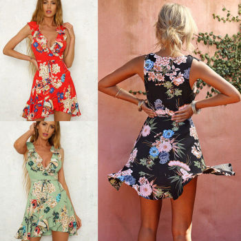 Boho Sweet Summer Women Ladies Dress Sundress 3 Style Ruffles Sleeveless Deep V-Neck Floral Print A-Line Mini Dress 1