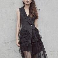 Women Dress Mesh TUTU Long Dresses Women Layered Gauze Ruffles Sleeveless Summer Dress Black V Neck Vestidos