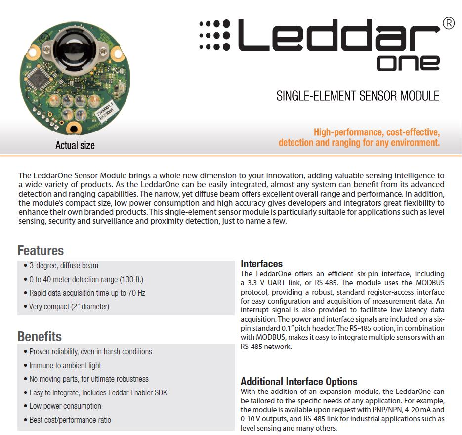 US $288 0 |Leddar One Lidar light weight reasonably priced lidar with 40m  range 70hz update rate 3 degree diffuse beam 3 3V UART Pix-in Home
