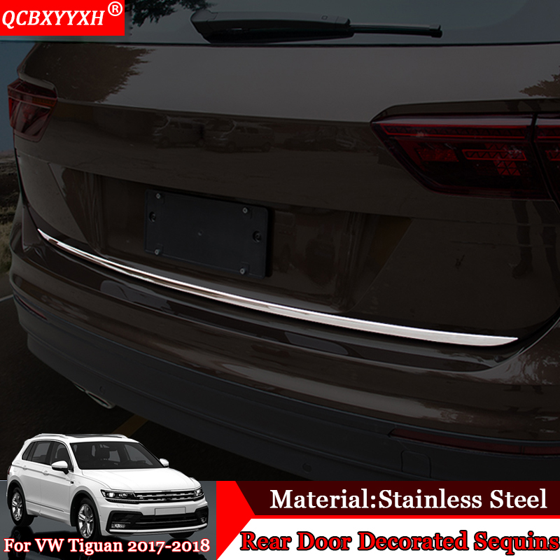 Car Styling Rear Bumper Protection Tail Tailgate Trunk Guard Sill Plate Scuff Trim Cover Sequin For Volkswagen Tiguan 2017 2018 stainless steel rear bumper protector plate sill trunk guard cover trim 2pcs accessories for volkswagen vw tiguan l 2017