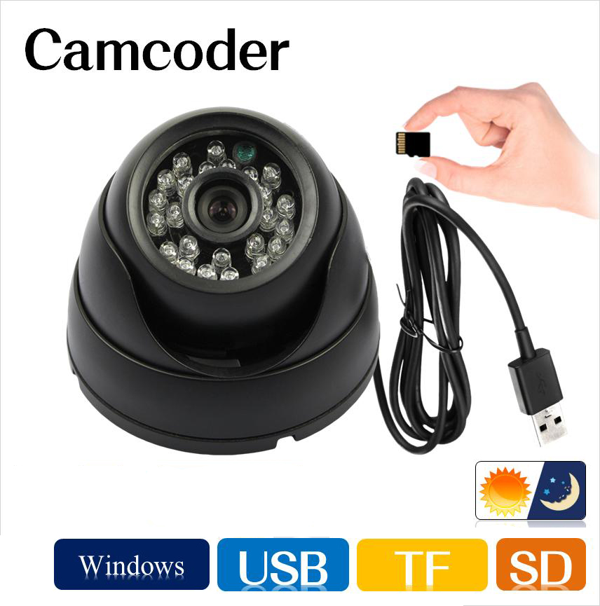 Security Dome camcorder IR CCTV Camera Video Memory Card Storage Night Vision Auto Car Driving record Recorder DVR USB 4 in 1 ir high speed dome camera ahd tvi cvi cvbs 1080p output ir night vision 150m ptz dome camera with wiper