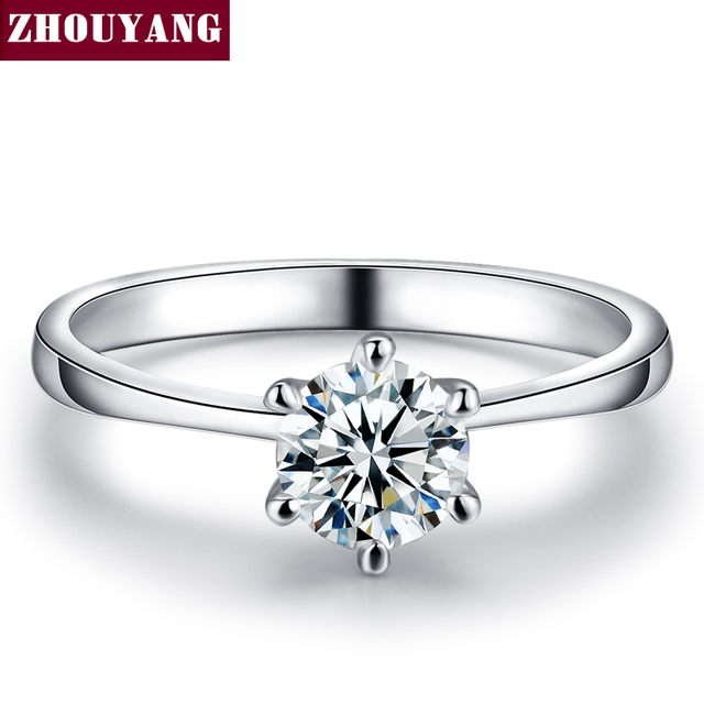 ZYR013 Six Claw Cubic Zirconia Silver Color Wedding Ring Made with Austrian Crys