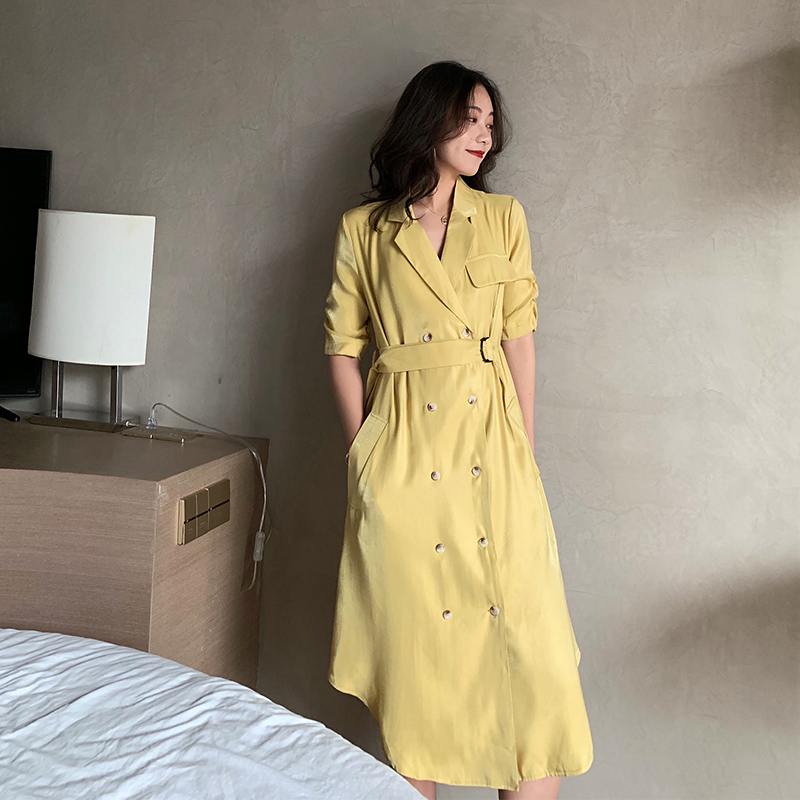 Korean Style Short Sleeve Women Dress Solid Color Wild Casual Summer New Female Clothes