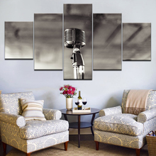 Modular Paintings On Canvas Wall Art Framework Modern HD Prints Posters 5 Pieces Microphone Pictures Rock Music Room Home Decor