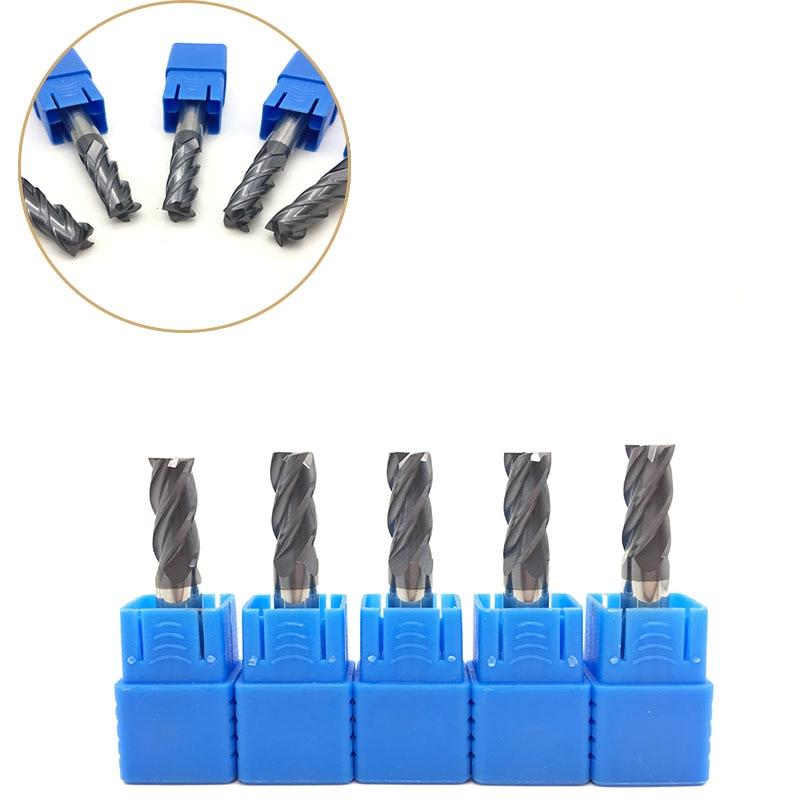 5pcs Carbide Endmill 10mm 12mm HRC50 4Flute Solid Carbide Straight Shank Flat End Mill CNC Milling Machine Tools