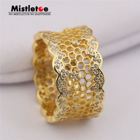 100 925 Sterling Silver Gold Color Honeycomb Lace Ring Misteloe Shine Clear CZ Compatible With European