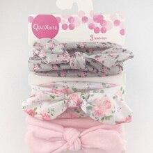 Новинка 3 шт./лот Детская повязка для волос цветок принт hairwear для новорожденных девочек повязка на голову для маленьких девочек детские повязки на голову