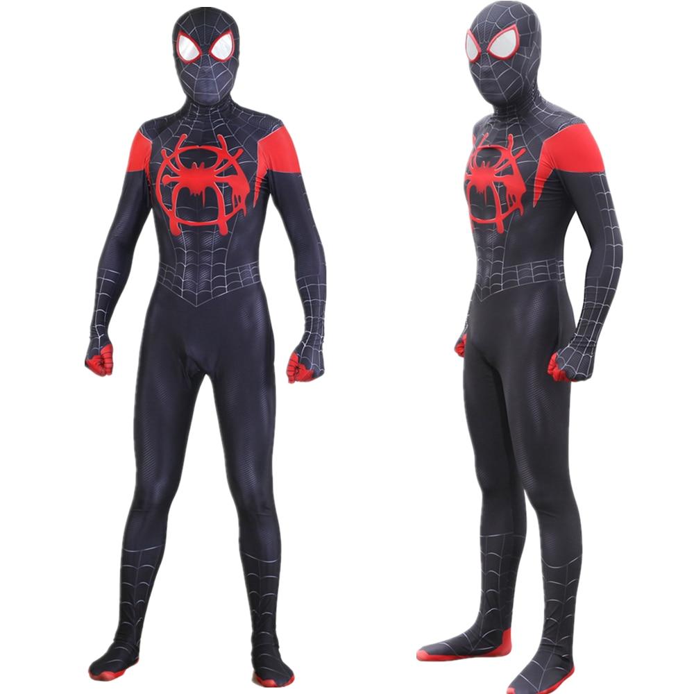 Adult Kids Miles Morales Spider-Man: Into the Spider-Verse Jumpsuit Cosplay Costume Bodysuit Spiderman Zentai Superhero Suit