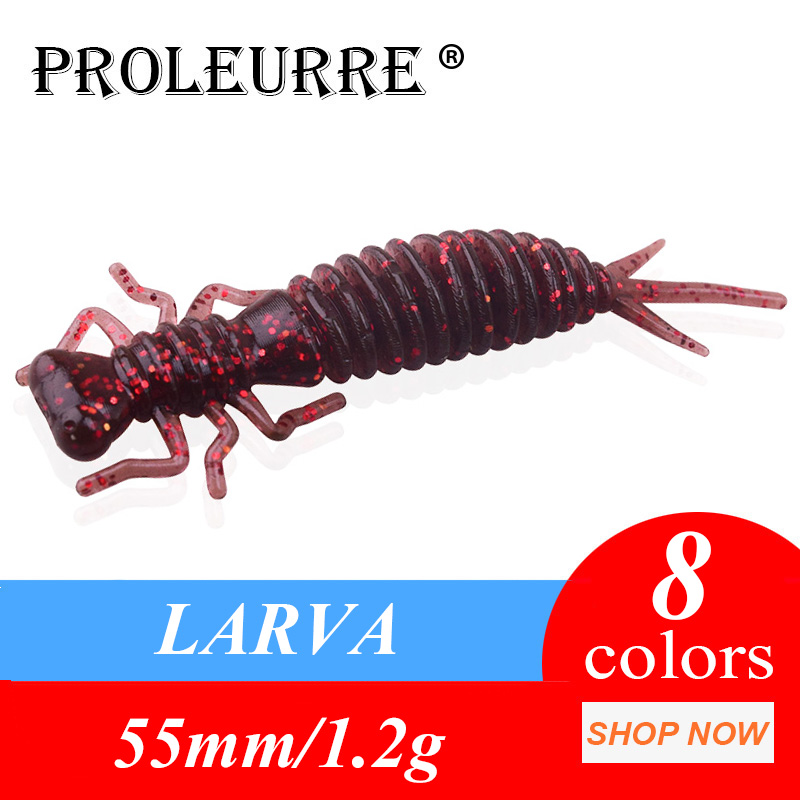 10pcs/lot Soft Worms Fishing Lures 55mm 1.2g Larva Soft Lures Artificial Silicone Bass Pike Fishing Wobbler Jigging Plastic Bait