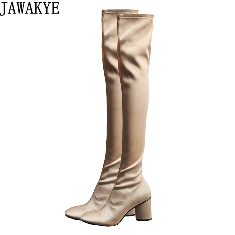 JAWAKYE designer Spring Fall Elastic Over the Knee Boots Women high Heels stretch fabric Thigh High Botas Mujer Wedding Shoes stretch fabric over the knee boots sexy back zipper low heels shoes women round toe black khaki long boots elastic botas mujer