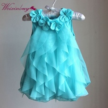 2018 Sweet Flower Turn Down Collar Sleeveless Solid Color Baby Girls Summer Dress Toddler Girls Birthday Party Dress M1