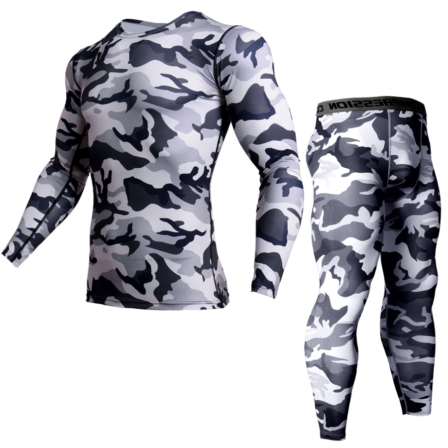 Men's Suit 2 Piece Tracksuit Men Rashgard Male MMA Compression Clothing Thermal Underwear Tracksuit Warm Fitness Shirt+Leggings