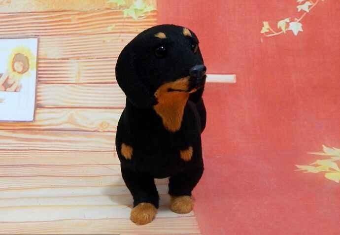 """כ 20x13 ס""""מ שחור כלב תחש מודל קשה, פוליאתילן & קישוט בית מתנת צעצוע פסלוני מלאכת & מיניאטורות פרוות a2898"""