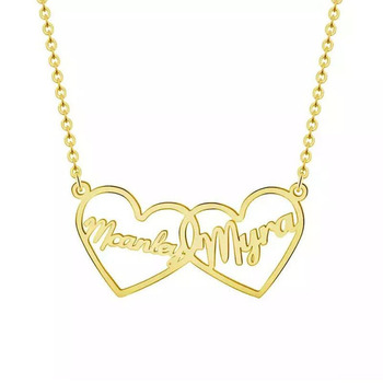 Gold Love Heart Double Names Necklace & Pendants For Women Lovers Two Hollow hearts with Names Custom Letter Jewelry BFF