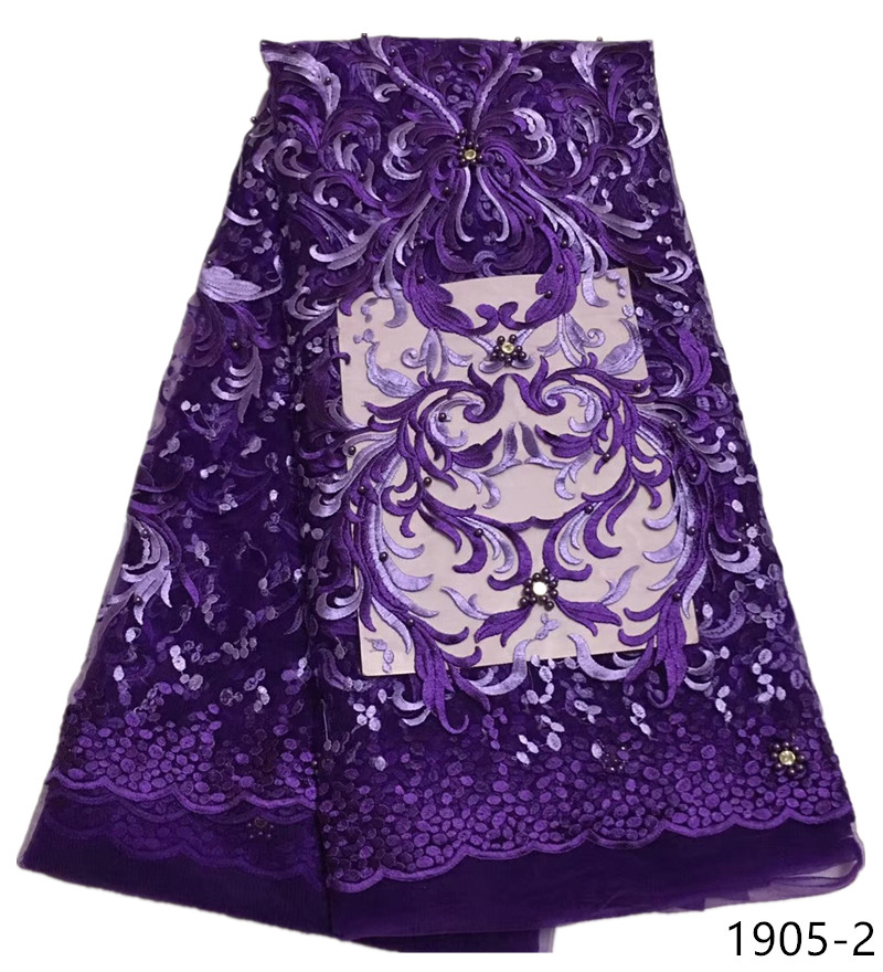 African purple Lace Fabric Embroidery Beaded French Net Lace Fabrics 2019 High Quality Latest African Laces 1905African purple Lace Fabric Embroidery Beaded French Net Lace Fabrics 2019 High Quality Latest African Laces 1905