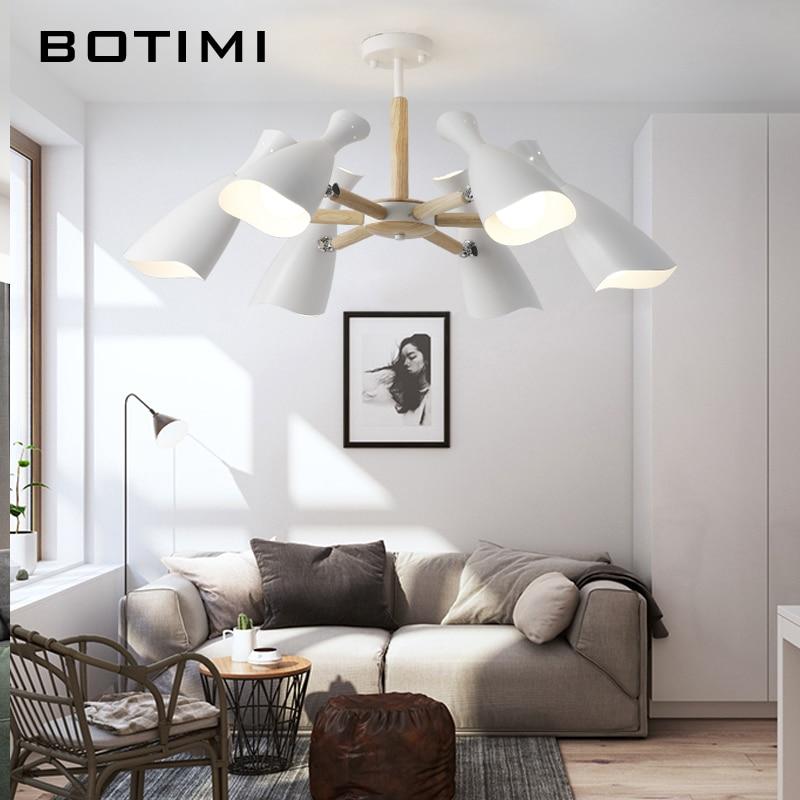 BOTIMI Neue Ankunft Kronleuchter Beleuchtung Für Wohnzimmer FÜHRTE  Kronleuchter Holz Lüster E27 Küche Leuchten Innenbereich Hängen Licht