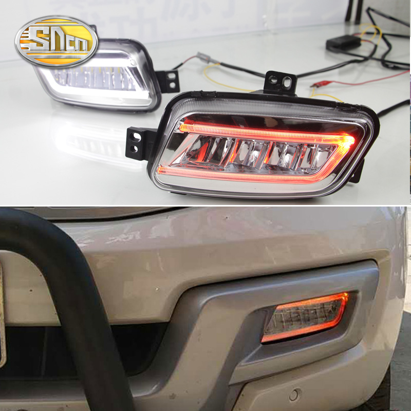 For Ford Everest 2016 2017,With Turning Yellow Signal Relay Waterproof Car DRL 12V LED Daytime Running Light LED Fog Lamp SNCN car styling daytime running light drl led with turning signal fog lamp decorative 2 function for ford focus 3 2015 2016