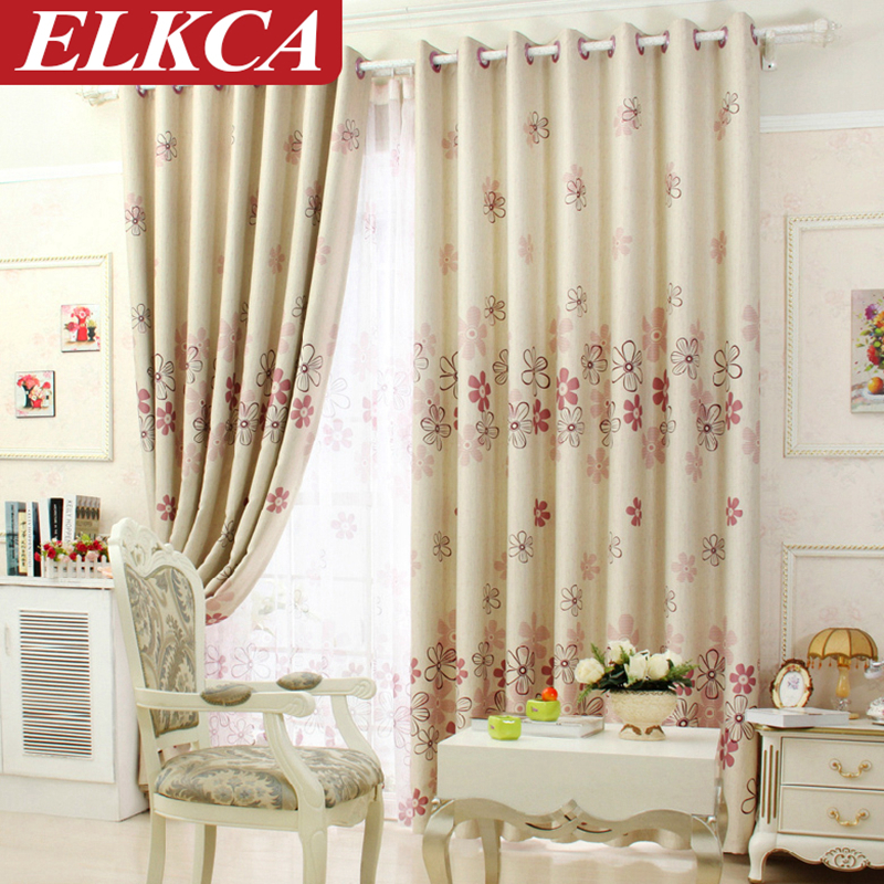 Modern Window Curtain With Flower Design: Flowers Modern Curtain Set Floral Blackout Curtains For