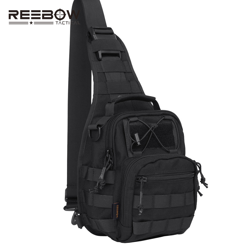 REEBOW TACTICAL Military Molle Tactical Utility Chest Bag 1000D Outdoor Sports Hiking Sling Pack Travel Pouch Black Camouflage 1000d nylon tactical military shoulder messenger backpack molle camouflage travel camera back pack camping hiking saddle bag
