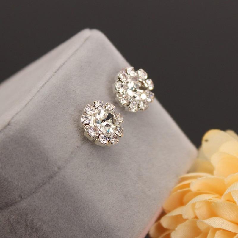 Crystal Stud Earring Sunflower Cubic Zirconia Rhinestone Charm Statement  Earrings For Women Silver Color Ear Pendientes Jewelry-in Stud Earrings from  ... 15af4c3de05b