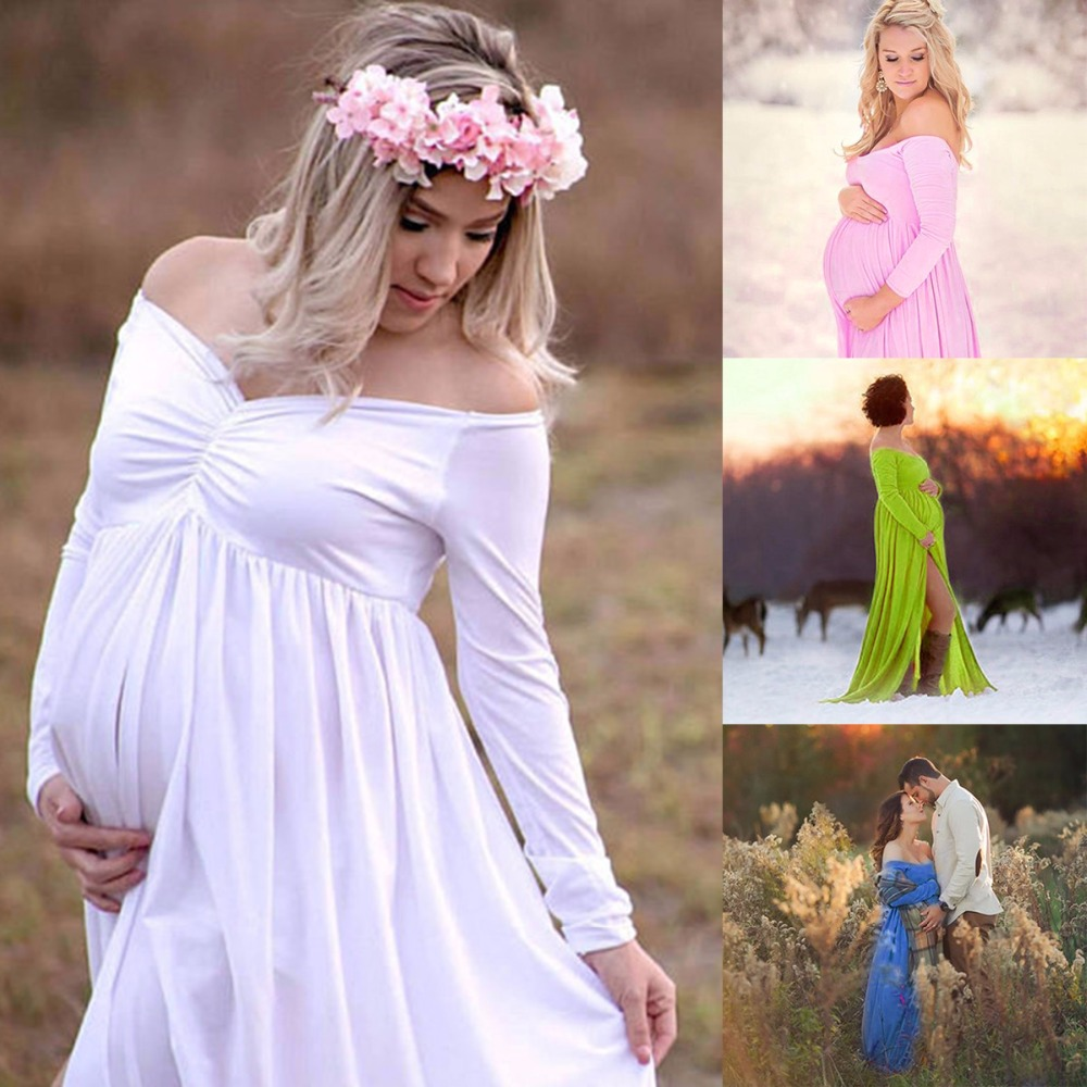 Puseky Maternity Women Pregnant Lady Off Shoulder Long Sleeve Long Maxi Dress Photography Prop Wedding Party Gown Wear long sleeve waisted maxi dress