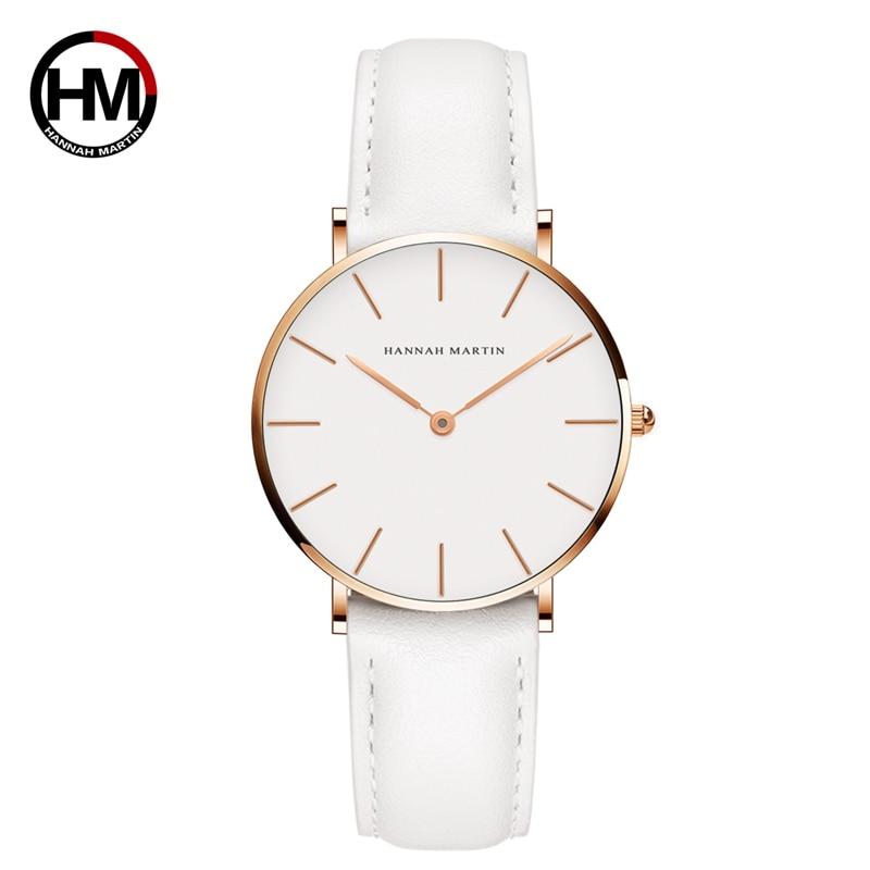 Hannah Martin Quartz Ladies Watch Casual White Leather Women Watches Waterproof Montre Femme 2018 Fashion Watch Women