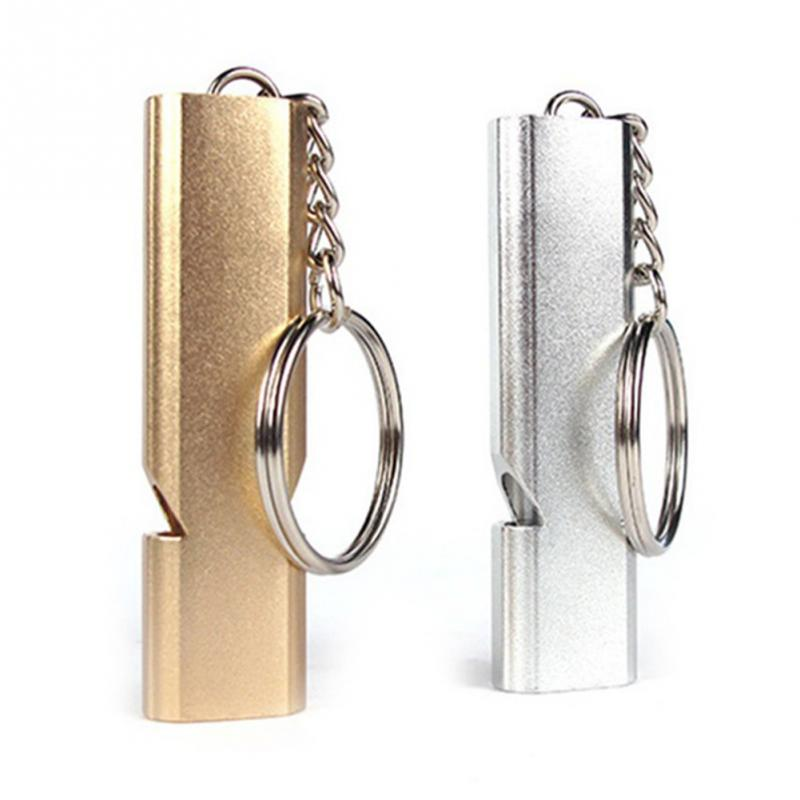 High Quality Double Pipe Whistle High Decibel Stainless Steel Outdoor Emergency Survival Whistle Keychain Cheerleading Whistle