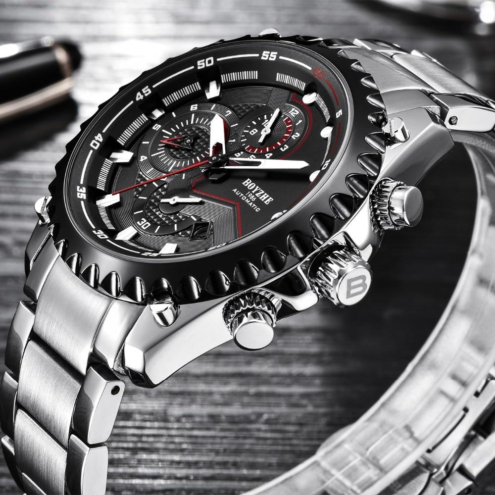 BOYZHE นาฬิกาอัตโนมัติผู้ชายสแตนเลสกันน้ำนาฬิกา Mens Sport chronograph relogio masculino-ใน นาฬิกาข้อมือกลไก จาก นาฬิกาข้อมือ บน   1